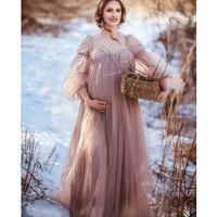 Pregnancy Maternity Dress Maternity Gown for Photoshoot Boudoir Lingerie Long Sleeves Robe Bathrobe Nightwear Babydoll Robe