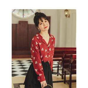 Image 3 - INMAN Spring Autumn Retro Young Girl Literary Turn Down Collar Red Print All Matched Women Blouse
