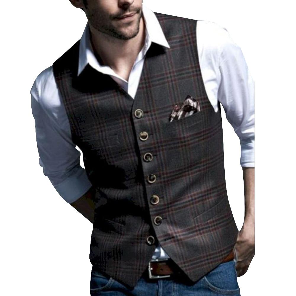 2020 British Style Men's Casual Tweed Vest Slim Fit  Lapel Custom Made Waistcoat For Wedding Groomsmen Leisure Business