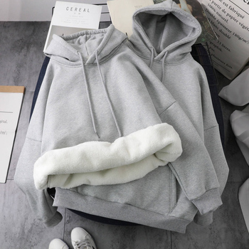 Ailegogo New Winter Women Fashion Solid Hooded Sweatshirts Autumn Long Sleeve Pullovers Oversize Woollen Liner Warm Loose Tops 1