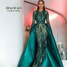 Зеленое Вечернее платье русалки в мусульманском стиле с длинным рукавом, с аппликацией, со шлейфом и арабским кафтаном, вечерние платья для выпускного вечера, OL103347, 2019