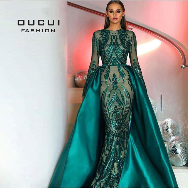 Green 2019 Muslim Long Sleeves Mermaid Evening Dress Appliques Sequined Train Arabic Kaftan Prom Dresses Party Gowns OL103347