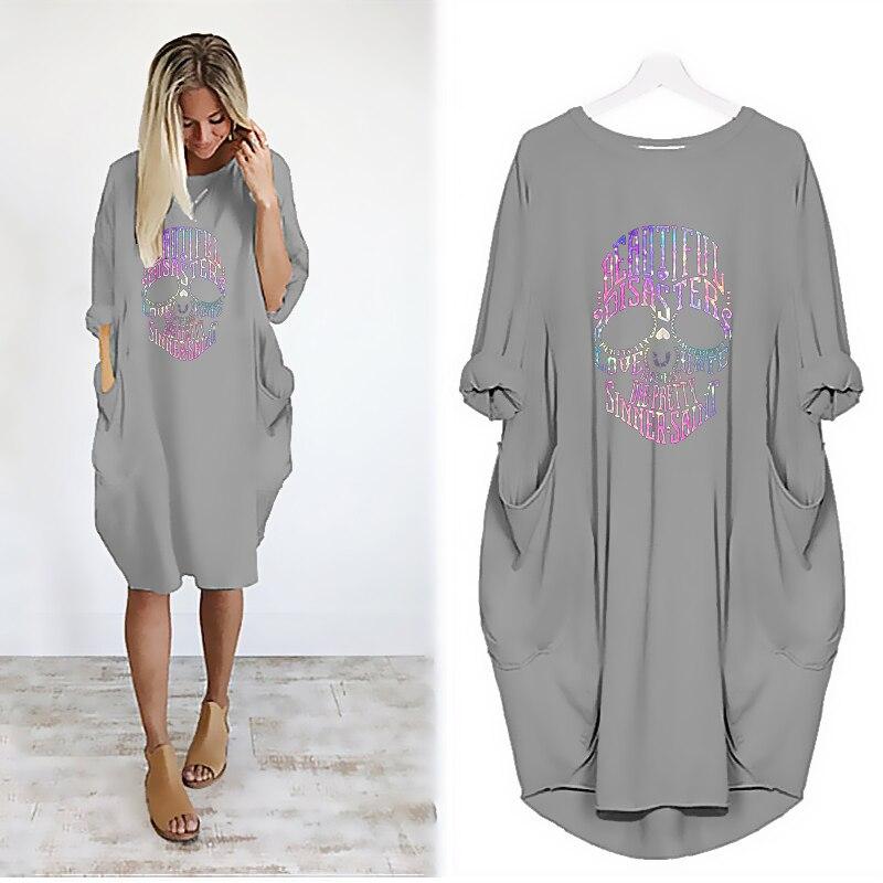Women Loose Dresses Long Sleeve Dress Plus Size Harajuku Skull Print Casual Robes Femme Vintage o Neck Pocket Party Vestidos 122