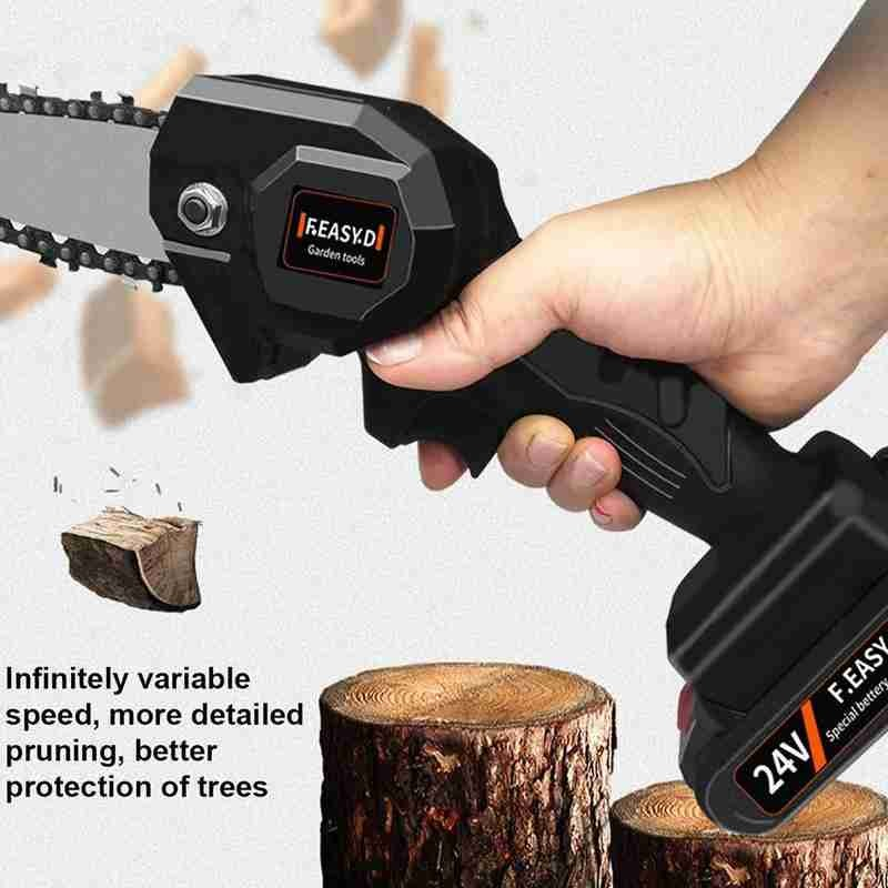 24v Rechargeable Mini Electric Chainsaw Adjustable Universal Chain Saw Lithium Battery-powered Wood Cutting Chainsaw Saw Bracket