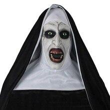 Cosplay Latex Helmet Masks Costume Horror-Props The Nun Scary Halloween Headscarf-Set