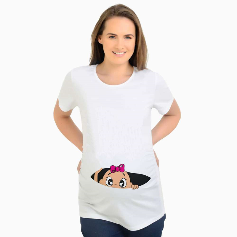 Summer Funny Cartoon Print Pregnancy T-Shirt Tops Maternity Clothing Plus-Size Short Sleeve Pregnant Women Hot Sale T-Shirts