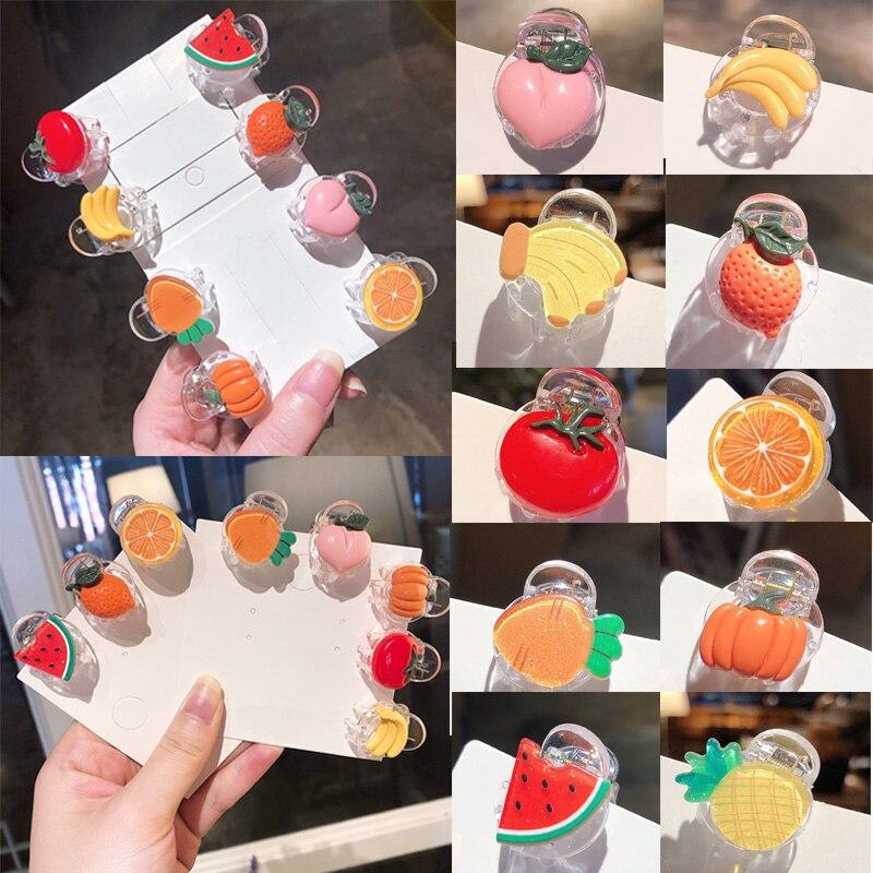 1Pcs Cute Vegetables Fruits Hair Claw Mini Barrettes Transparent Hair Clips For Children Cute Kids Kawaii Hairpins Kids Gifts