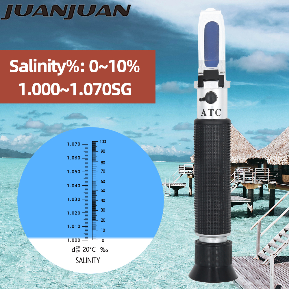 Salinometer Portable Salinity Meter Salty Refractometer Concentration 0-10% Halometer Salt Gauge Salty Brine With ATC For 42%OFF