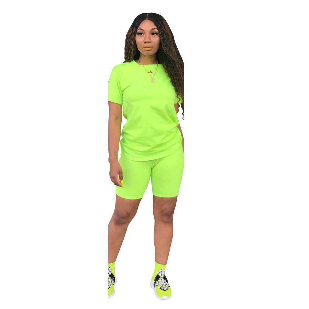 2020 yeni şeker renk kadın koşu setleri eşofman spor T gömlek üst şort spor giyim Casual kadın spor elbise