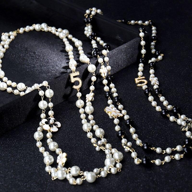 Высокое качество женские длинные Кулоны из нержавеющей стали ожерелье из искусственного жемчуга ожерелье de moda цифры «5» бисером; С цветочны...