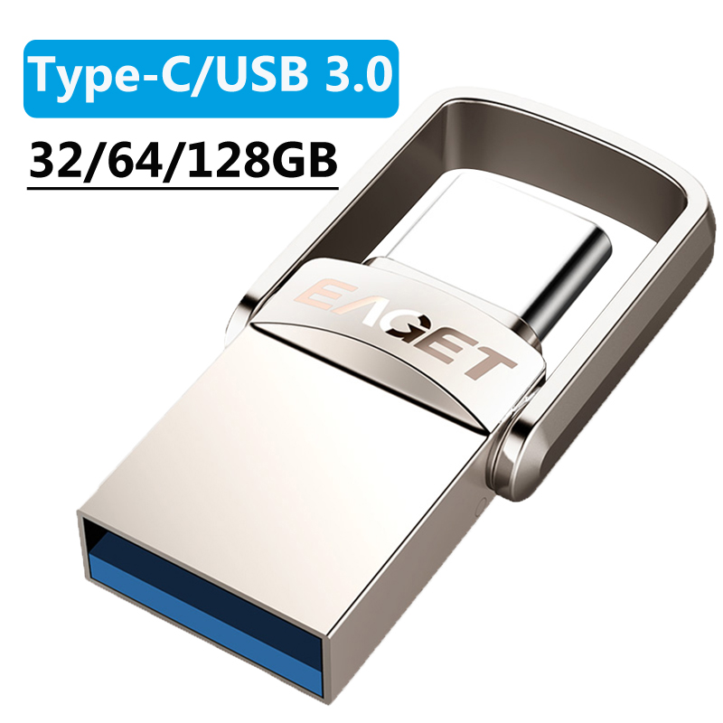 EAGET CU20 32/64/128GB Metal Type-C/USB 3.0 Flash Drive Memory Storage Stick OTG Pen Drive Mini U Disk For Computer Mobile Phone