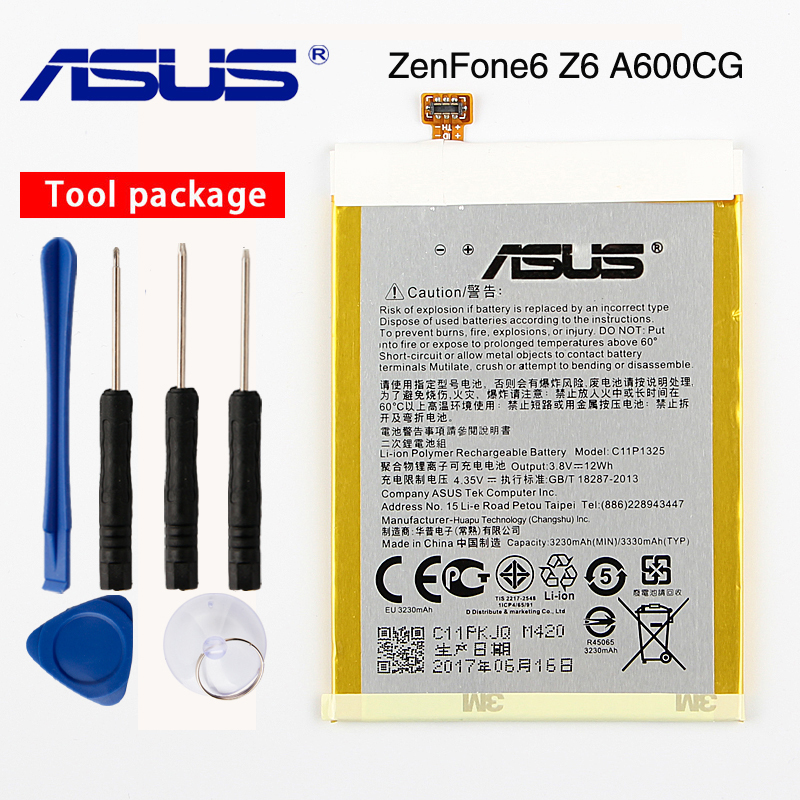 Original <font><b>ASUS</b></font> High Capacity C11P1325 Phone Battery For <font><b>ASUS</b></font> ZenFone6 Z6 A600CG <font><b>T00G</b></font> A601CG 3330mAh image