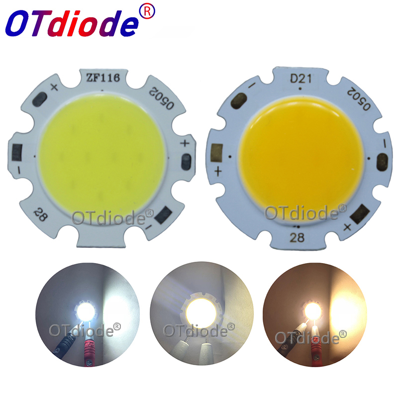 Manufacturer 28mm Round Aluminum LED COB Light Source Module 3W 5W 7W 10W 12W COB Bulb Lamp Flip Chips For Spotlight
