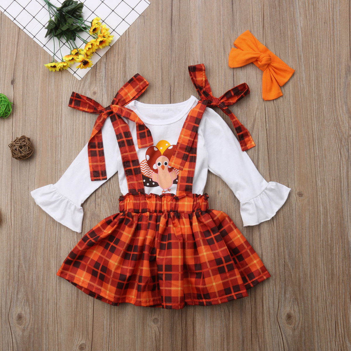 Plaid Suspender Skirt Headband 3PCS Overalls Clothes Set Thanksgiving Toddler Baby Girl Turkey Long Sleeve T-Shirt Tops