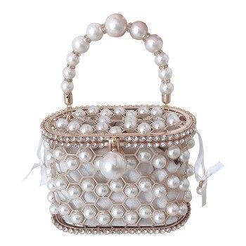 Luxury Hollow Out Pearl Flower Mini Bucket Handbag  2