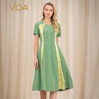 VOA Grass Green Silk Short Sleeve Womens Dresses Round Neck Medium Length Splicing Decoration Thin X shaped Dress A10605