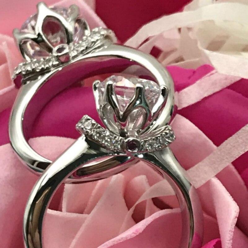 S925 bagues en argent Sterling 2 carats AAAAA haute qualité Zircon cubique couronne broche réglage bagues de mariage pour les femmes bijoux classiques - 4