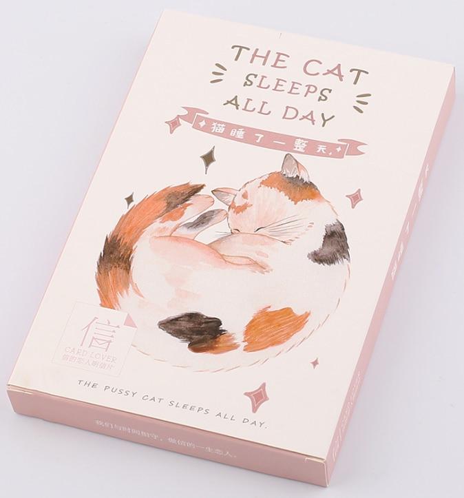 Cat Sleep Paper Postcard(1pack=30pieces)