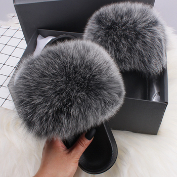 Women 2020 Fashion Fluffy Slippers Ladies Casual Imitation Fox Fur Female Daily Comfort Flat Shoes Cute Slides D30