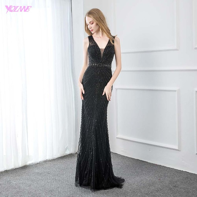 Sexy V Neck Black Beaded Evening Dresses 2019 Long Mermaid Backless Evening Gown Party Dress YQLNNE