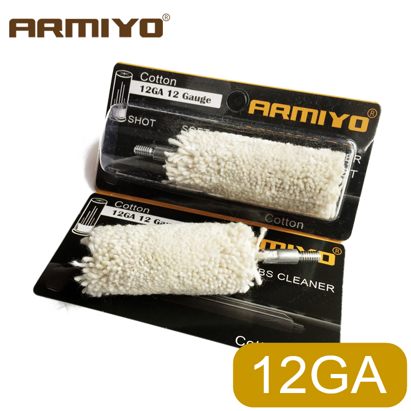 Armiyo 12GA 12 Gauge 18.5mm Gun Barrel Cotton Cleaner Cleaning Swabs Screw Thread Size 8-32 Shot Hunting Shooting Accessories