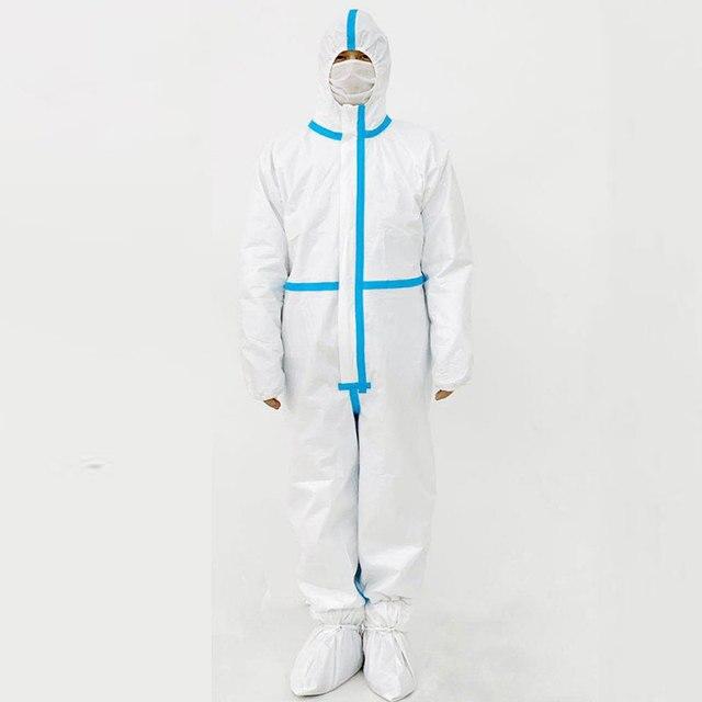 Protective suit chemical protection jumpsuit coveralls PPE suit safety goggle disposable latex glove hazmat suit 5