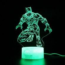 цена на Avengers 3D Lamp USB RGB Nightlight Black Panther Touch Sensitive Light Kids Sleep Lights Remote Control Table Lamp Sleep