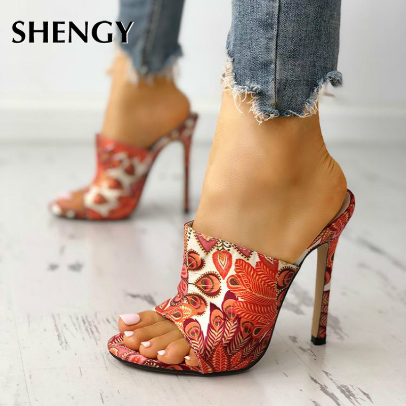 2020 Fashion Summer Women Sandals Peep Toe Slip On Sexy Party Pumps Stiletto High Heels Sandals Slides Wedding Party Shoes 10cm