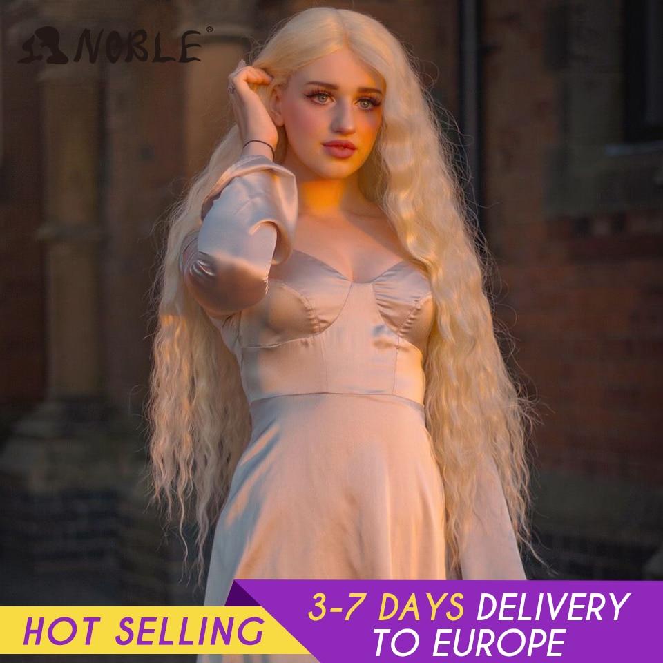 Asil Cosplay sentetik dantel ön peruk uzun peruk Cosplay kıvırcık 42 inç Ombre sarışın renk peruk sentetik dantel ön peruk kadınlar için