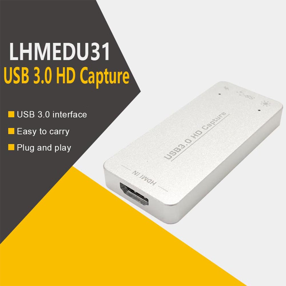 Plug And Play Portable 1080P Adapter Universal <font><b>Capture</b></font> <font><b>Card</b></font> Audio Converter Live Streaming <font><b>HDMI</b></font> Video <font><b>USB</b></font> <font><b>3.0</b></font> HD Recorder image