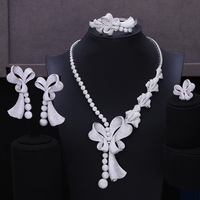 missvikki Luxury Geometry Dubai 4PCS Bow Jewelry Sets Nigerian Wedding African Beads Bridal Jewellery Set Cubic Zircon Ethiopian