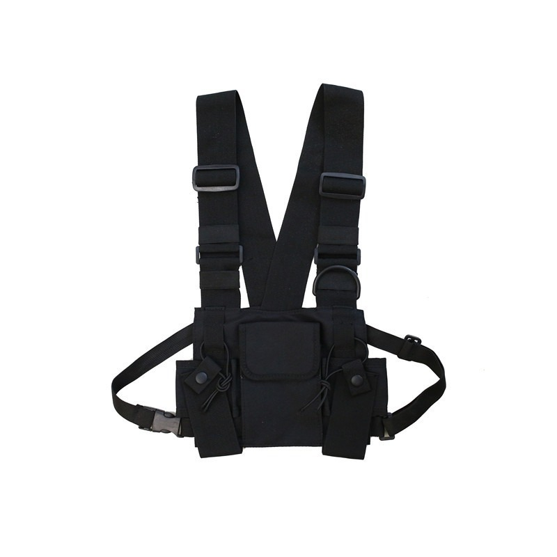 Vest Nylon Military Vest Chest Rig Pack Pouch Holster Tactical Harness Walkie Talkie Radio Waist Pack For Two Way Radio SA-8
