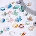 VG 6YM 2021 Новый прозрачной акриловой смолы Красочные Геометрические Квадратные Кольца для женщин ювелирные изделия вечерние подарки оптом