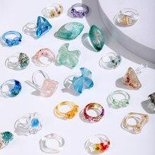 Vg 6ym 2021 nova resina transparente acrílico colorido geométrico quadrado anéis redondos para mulheres jóias presentes de festa atacado