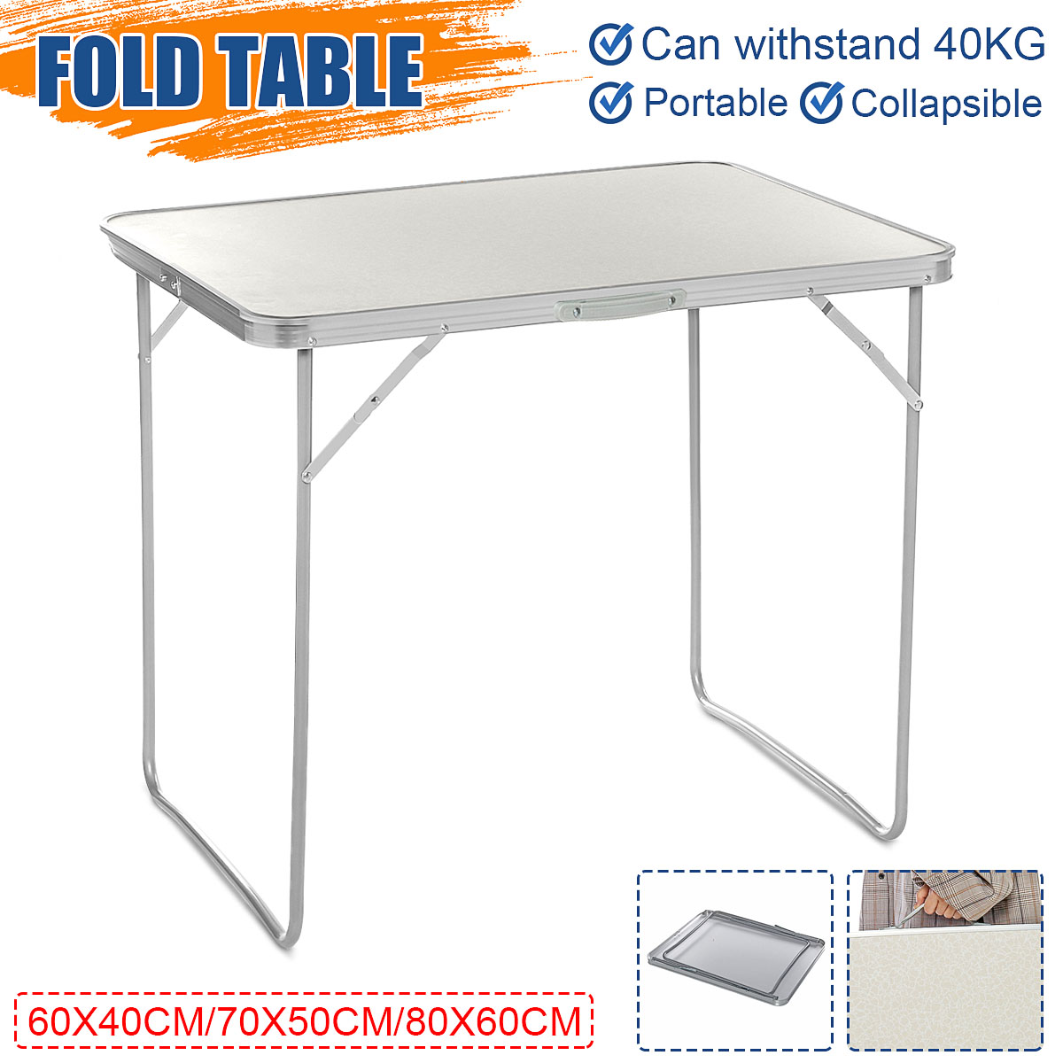 3 Size Portable Folding Table Aluminum Dining Outdoor Camping Picnic Beach Desk Laptop Table