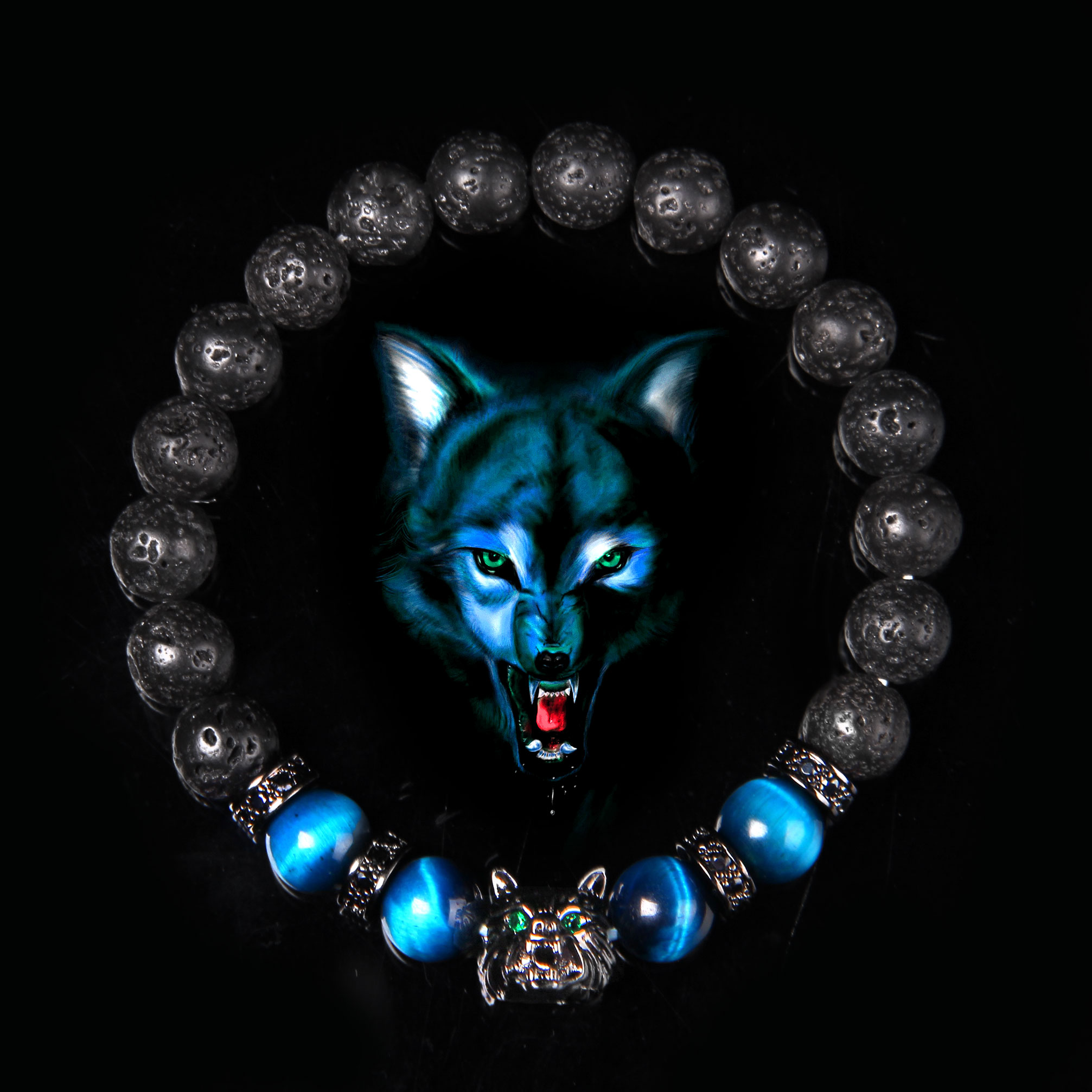 Wolf Charm Bracelets Men Natural Black Lava Stone Bracelets Brave Tiger Eye Bracelets Women Elastic Jewelry 8 mm Beads Pulsera