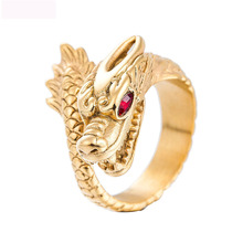 Luxury Dragon Fashion Jewelry Rings Vintage Titanium Steel Ring Rectangle Stainles Gold Color Jewel Men Gifts
