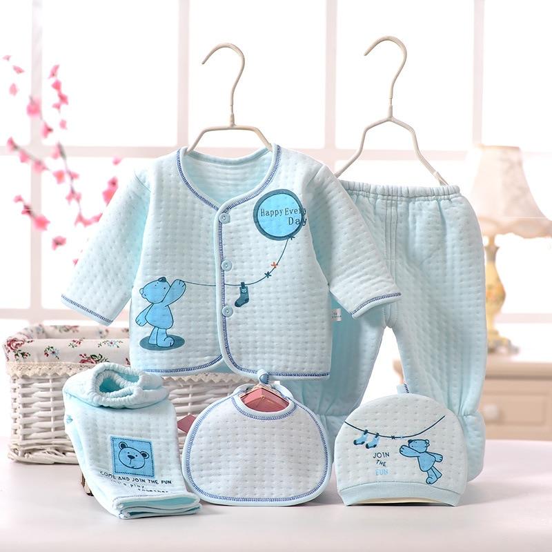 CYSINCOS Gift Newborn Baby Unisex 5pcs/sets Clothing Soft Cotton Set Infant Long Sleeve Girls Shirt+pant Bibs Hat Suit Underwear