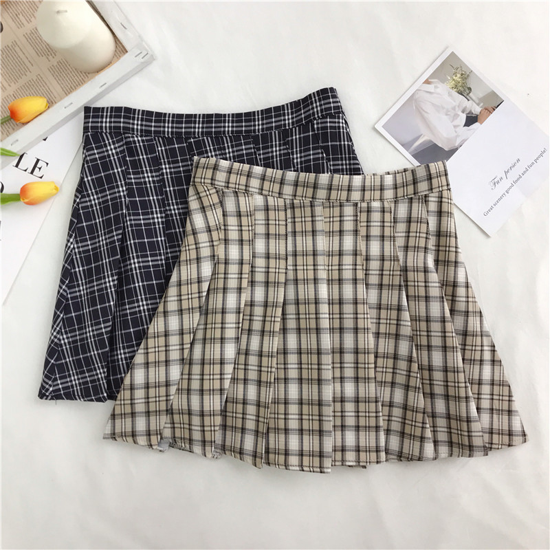 Photo Shoot WOMEN'S Dress Spring Summer New Style Plaid High-waisted Slimming Pleated Half-length Short Skirts Women's