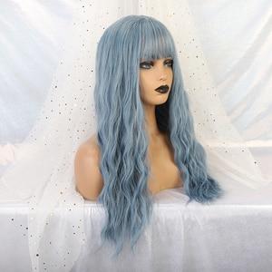 Image 5 - アランイートン波状女性かつら高温繊維合成かつらロング波状毛ウィッグ女性ブルーかつら前髪女性