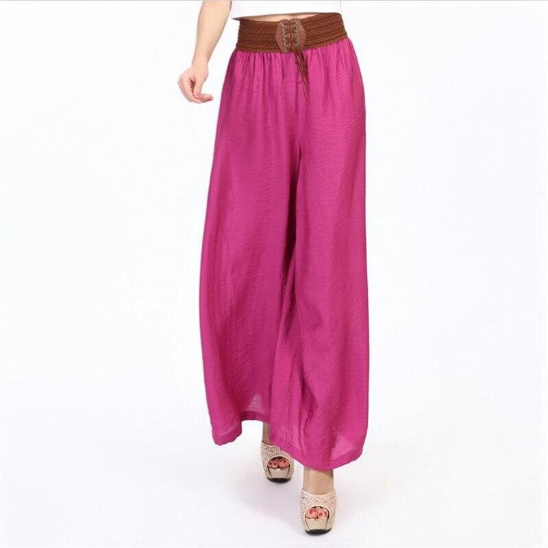Women Boho Long   Pants   Thin Comfortable Casual Loose   Wide     Leg     Pants   Belt Patchwork Trousers Plus Size 5XL 6XL 7XL Black Rose