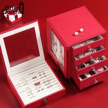 Pu Leather Large Jewelry Storage Box Ring Earring Necklace  Jewelry Organizer