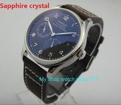 Szafirowy kryształ 43 mm czarna tarcza PARNIS ST2530 automatyczny mechanizm samoczynnego wiatru zegarek męski rezerwa chodu zegarek na co dzień rnm1