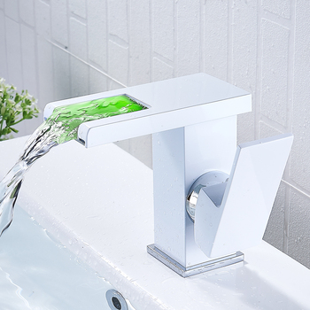 Modern 3 Colors Temperature Sensor Led Faucet Bathroom Sink Faucet Cold and Hot Water Mixer Tap Waterfall Single Handle Sink Tap 7