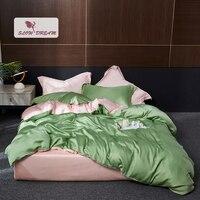 SlowDream Women 100% Silk Green Pink Bedding Set Luxury Duvet Cover Pillwocase Fitted Sheet Queen King Bed Linen Home Textile