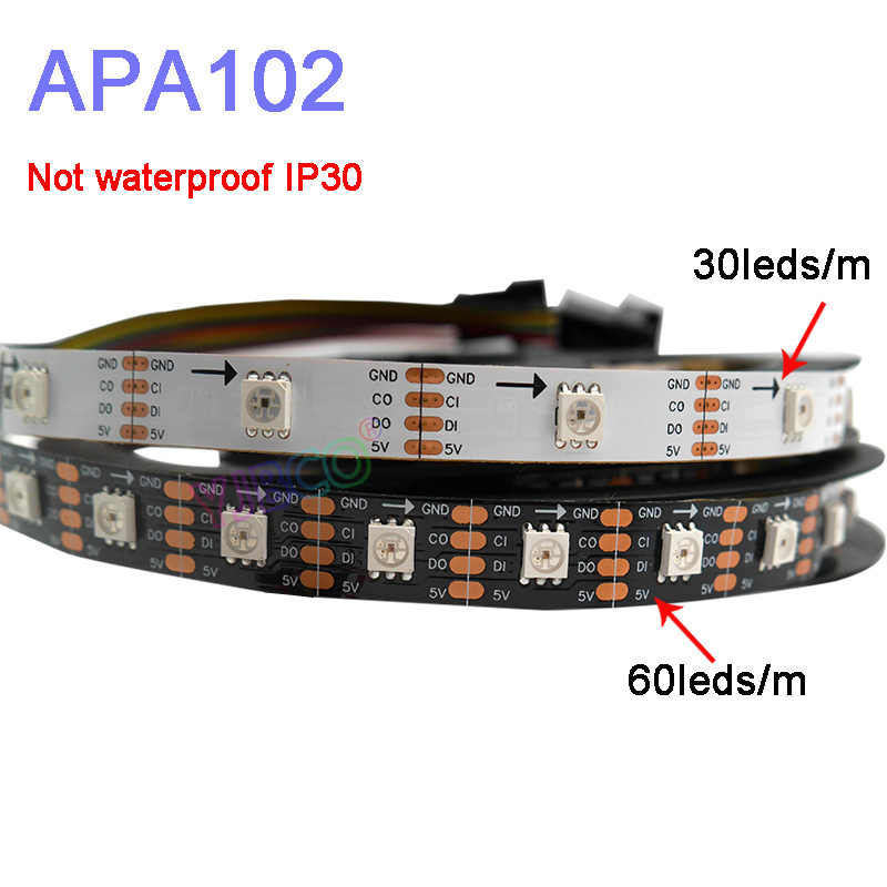 5 M/lot APA102 Smart LED Pixel Strip Cahaya DC5V 30/60 LED/Piksel/M; data dan Jam Secara Terpisah; IP30/IP65/IP67; SK9822 LED Strip
