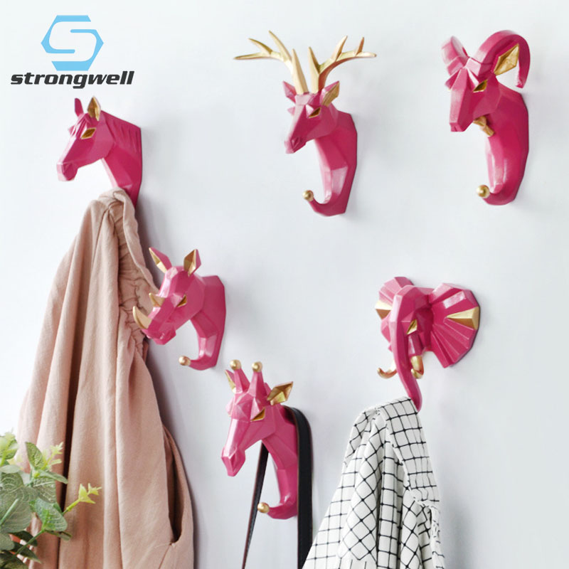 Strongwell Nordic Animal Head Wall Coat Hook Key Hooks Pink Gold Sliver Blue Door Paste Wall Hanging Creative Home Decoration