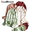 SuyaDream Frauen Silk Pyjamas Solide 100% Echt Silk Lange ärmeln Sleepset Set 2020 Drehen Unten Kragen Drucken Zwei-stück nachtwäsche