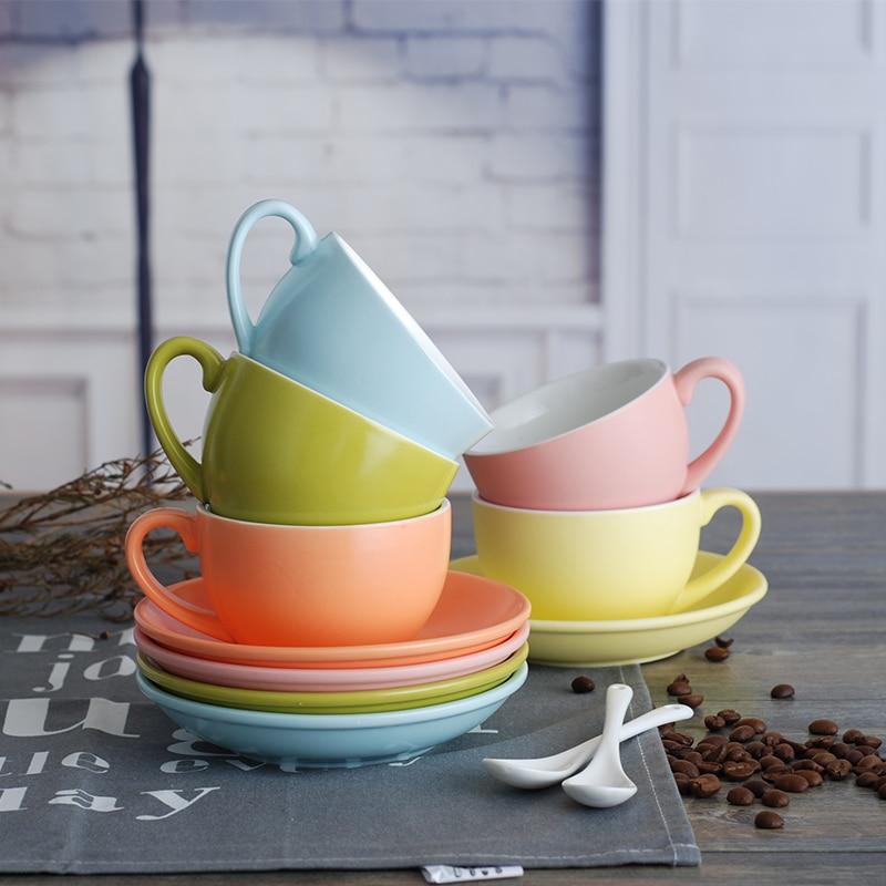 Filiżanka kawy matowy kubek ceramiczny Cappuccino Latte porcelana herbata do picia kubki i spodek zestawy 220ml zestawy upominków urodzinowych
