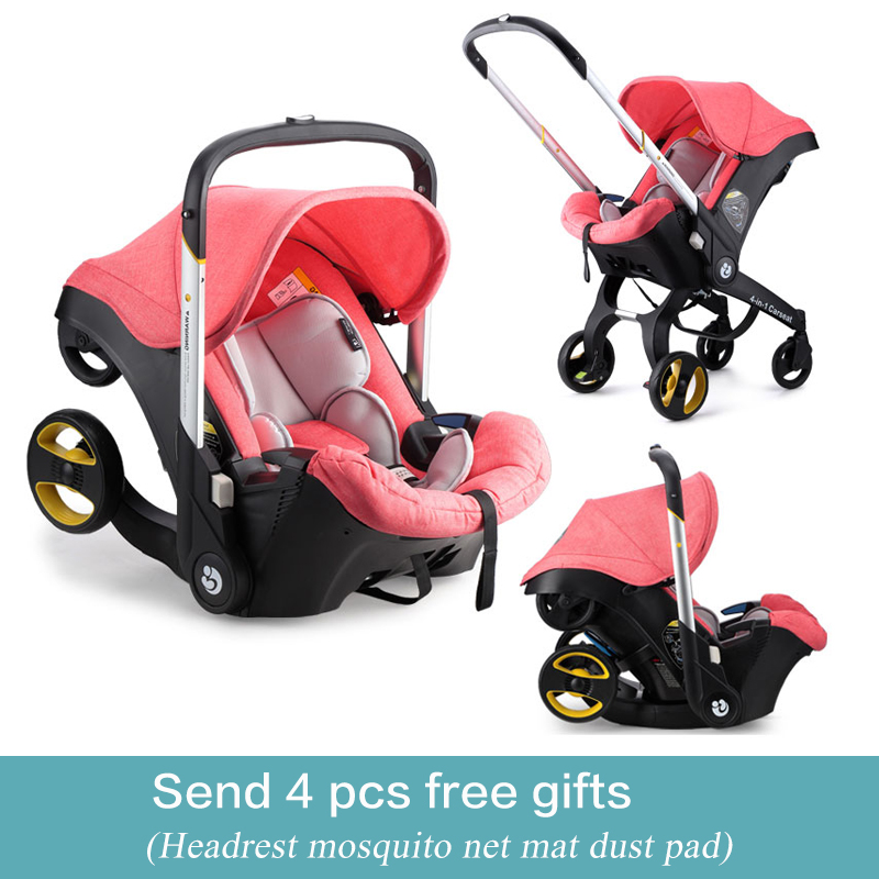 4 In1 Newborn  Baby Carseat  Stroller Aluminum Alloy Ttravel System Folding Baby Carriage Portable Cart Baby Sleeping Basket